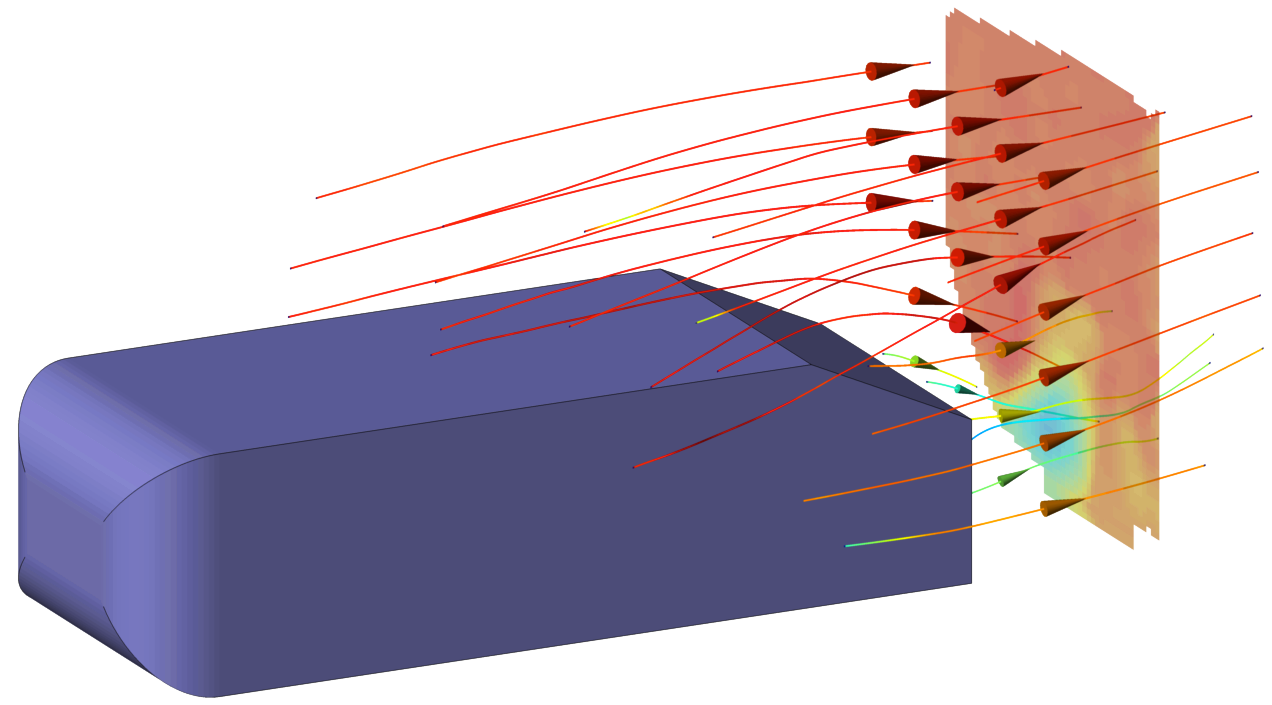 Streamlines around obstacle